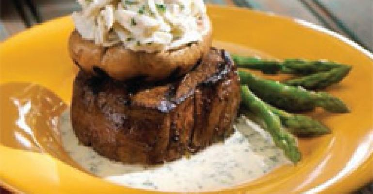 Herb-Grilled Steak with Crab-Stuffed Mushrooms