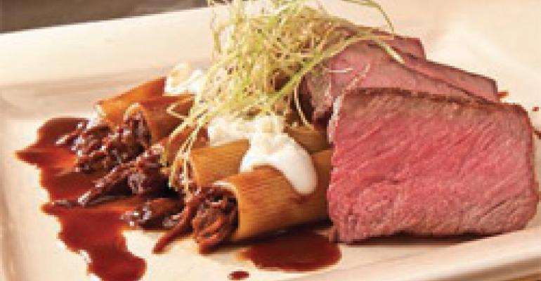 Strip Steak with Rigatoni and Gorgonzola Cream