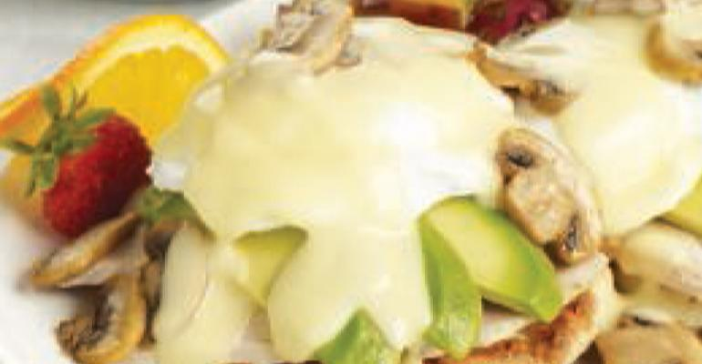 Turkey Mushroom Avocado Benedict