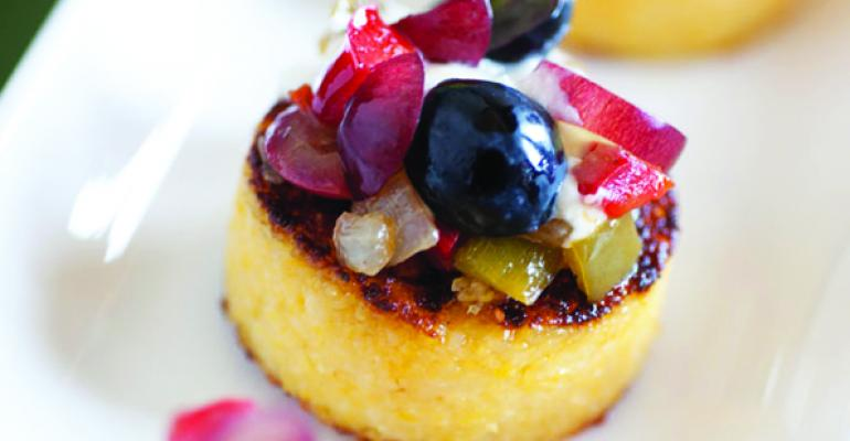 Grape Sofrito on Grilled Polenta with Mascarpone