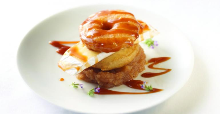 Wisconsin Brie With Crispy Apple Fritters, Salted Caramel and Apple Butter