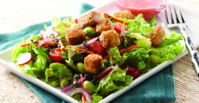 Edamame Salad with Tofu Croutons