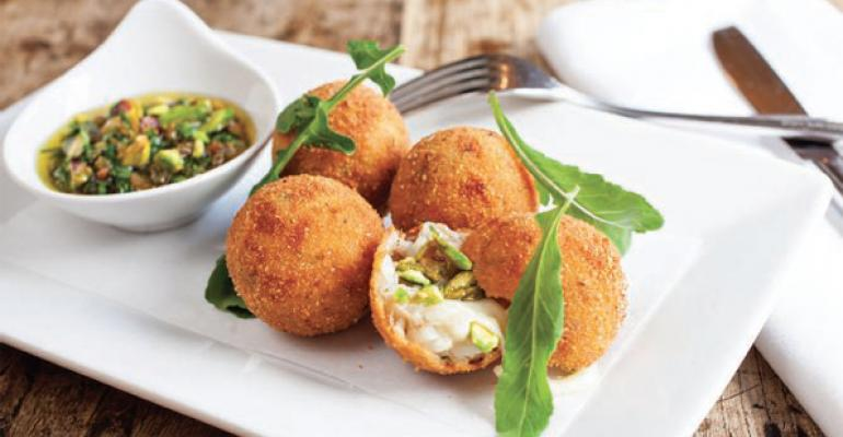 Savory Pistachio and Duck Risotto Balls with Warm Pistachio Sultana Gremolata