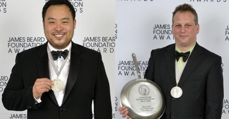 David Chang left and Paul Kahan right shared best chef honors
