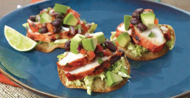 Achiote Grilled Chicken Tostadas with Avocado Black Bean Relish