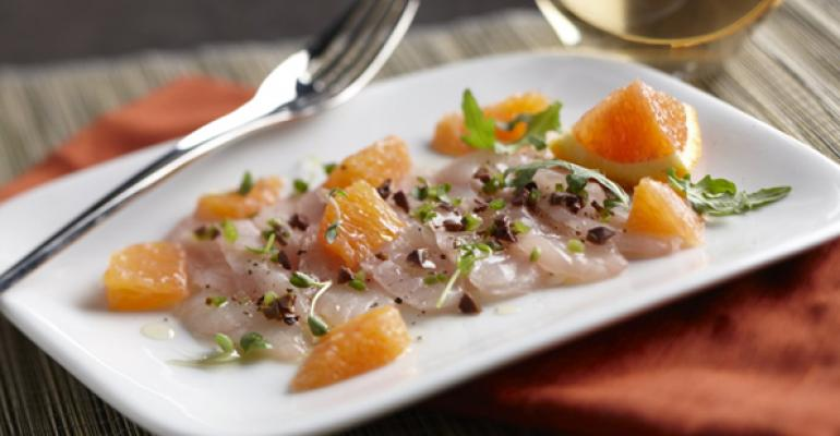 Striped Bass Crudo with Blood Orange and Jalapeno