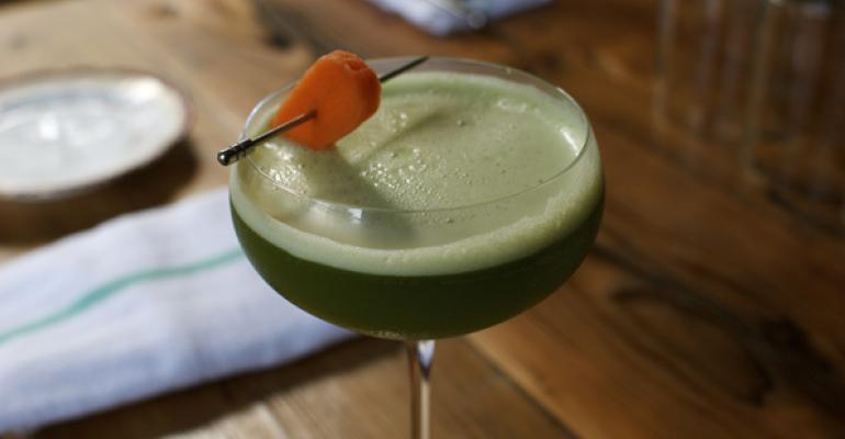 Fair Trade Quinoa Vodka Arugula Kale and Lemon Martini