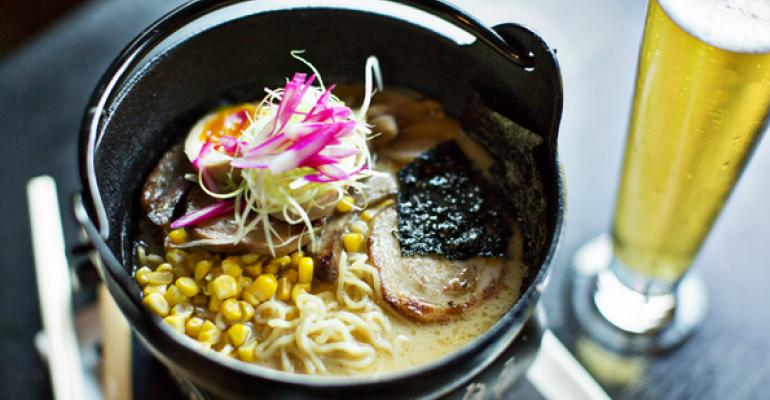 Ramen with char siu pickled bamboo sweet corn soft boiled egg Tokyo scallions toasted nori and house made noodles from Jennifer Nguyen at Zentan in Washington DC