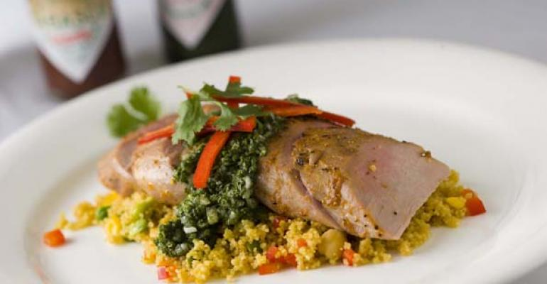 Oven-Roasted Pork Tenderloin with Seven Vegetable Couscous and Green Chimichurri