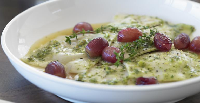 Sweet Corn Ravioli with Blistered Grapes