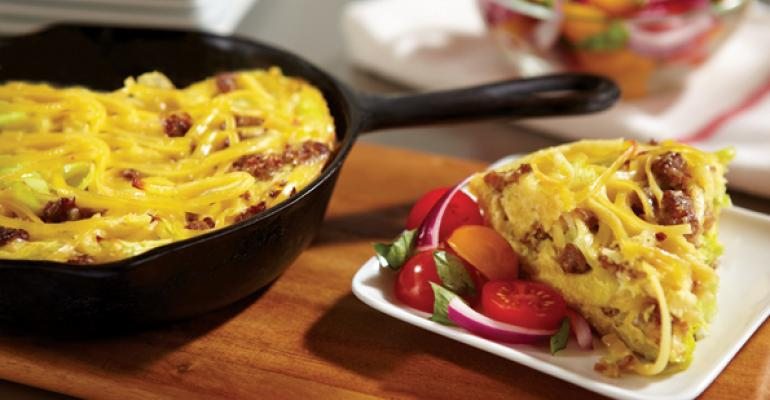 Linguine Frittata with Leeks, Italian Sausage and a Cherry Tomato Salad