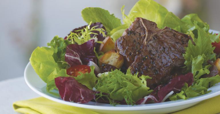 Glazed Lamb Loin Chop Salad