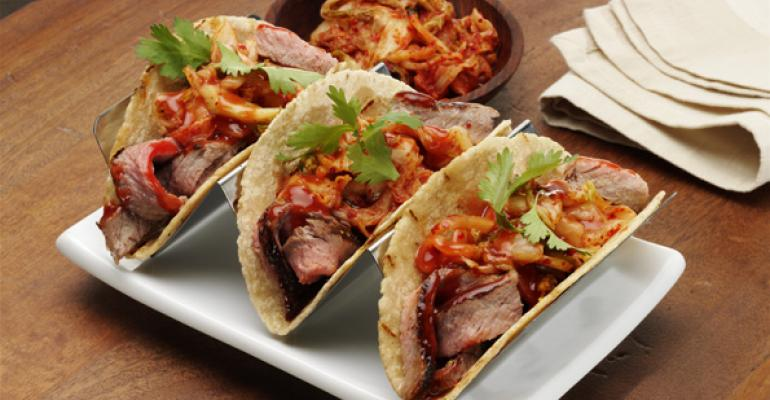 Grilled Sirloin Tacos with Barbecue Kimchee