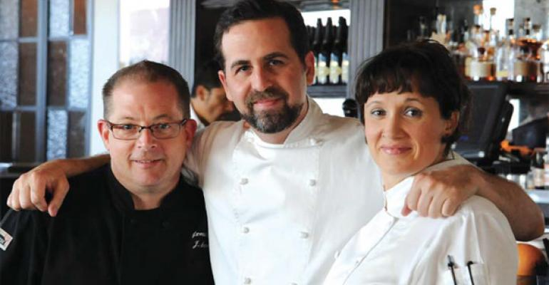 Ronnen flanked by executive chef Scot Jones and pastry chef Serafina Magnussen concocts vegan versions of traditional dishes at Crossroads