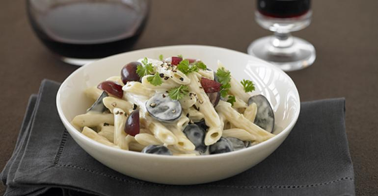 Creamy Penne with Blue Cheese and Grapes