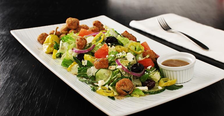 Greek Salad with Eggplant Croutons
