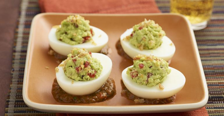 Avocado Deviled Eggs with Chile de Arbol Salsa