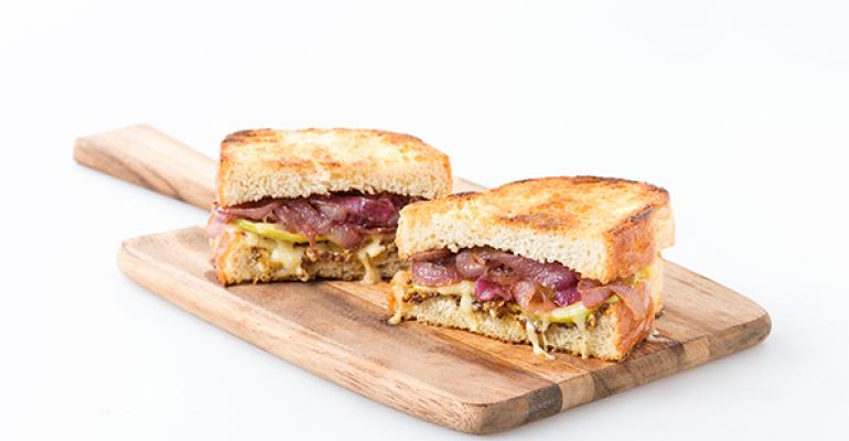 Caramelized Red Onion and Apple Grilled Cheese Sandwich