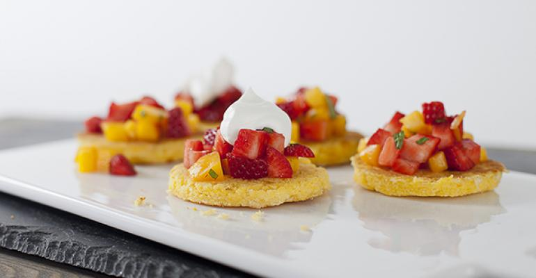 Sweet Corn Arepas with Strawberry Salsa