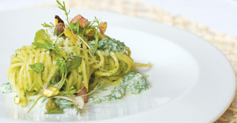 Spaghetti with Pistachio Pesto and Mint Ricotta