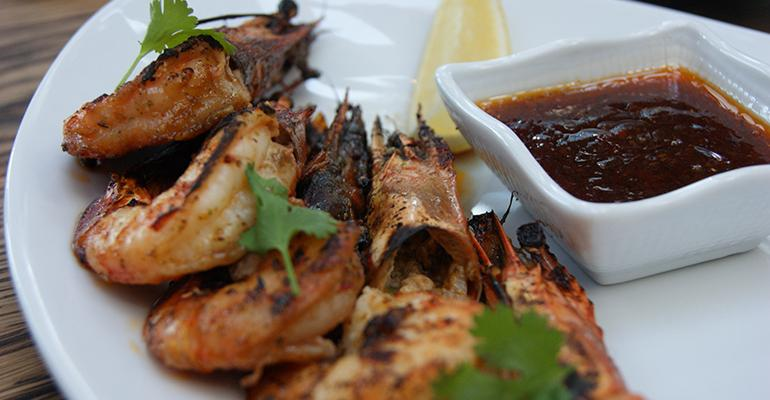 From the ROKU menu Spicy prawns with chili sauce and cilantro