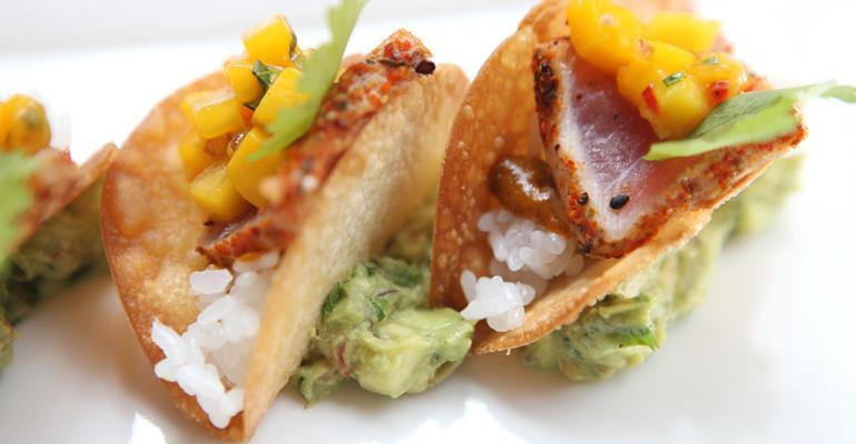 Tuna Wonton Tacos