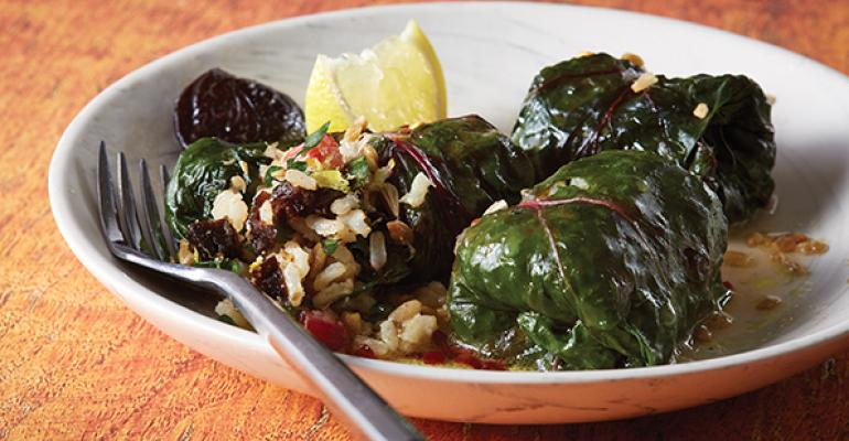 Swiss chard dried plum dolmas