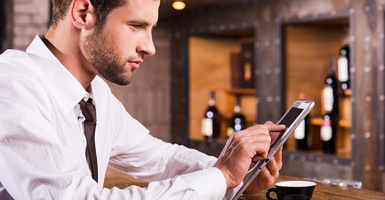 Millennial using smartphone