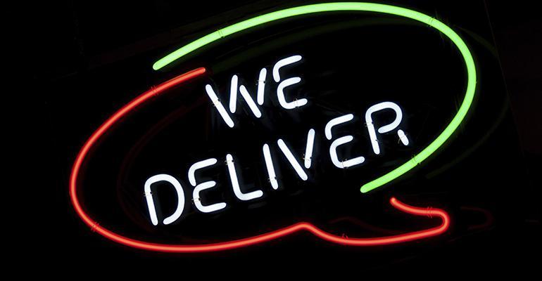 Restaurant delivery sign