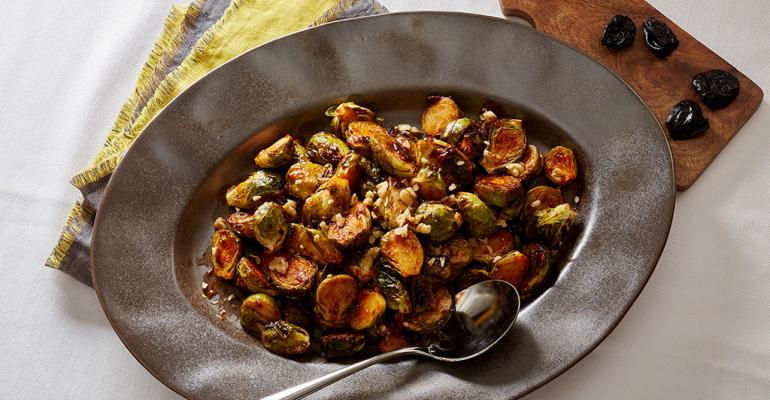 Roasted Brussels Sprouts with Dried Plum Puree, Harissa and Walnuts