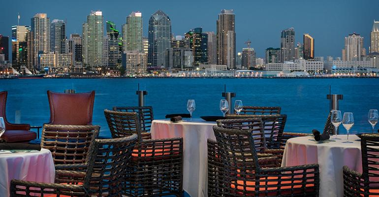 The patio at Coasterra in San Diego has a killer view and a solar canopy that protects guests from the elements