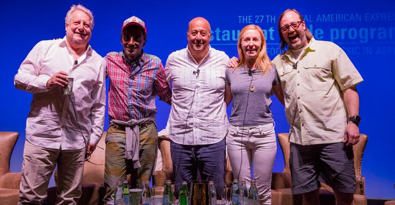 Mentors from left Jonathan Waxman Marcus Samuelsson Andrew Zimmern Christina Tosi and Wylie Dufresne