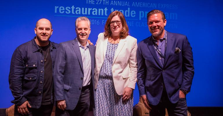 Plugged in from left Michael Jacobs Nicolas Jammet Maureen Cushing and Tyler Florence