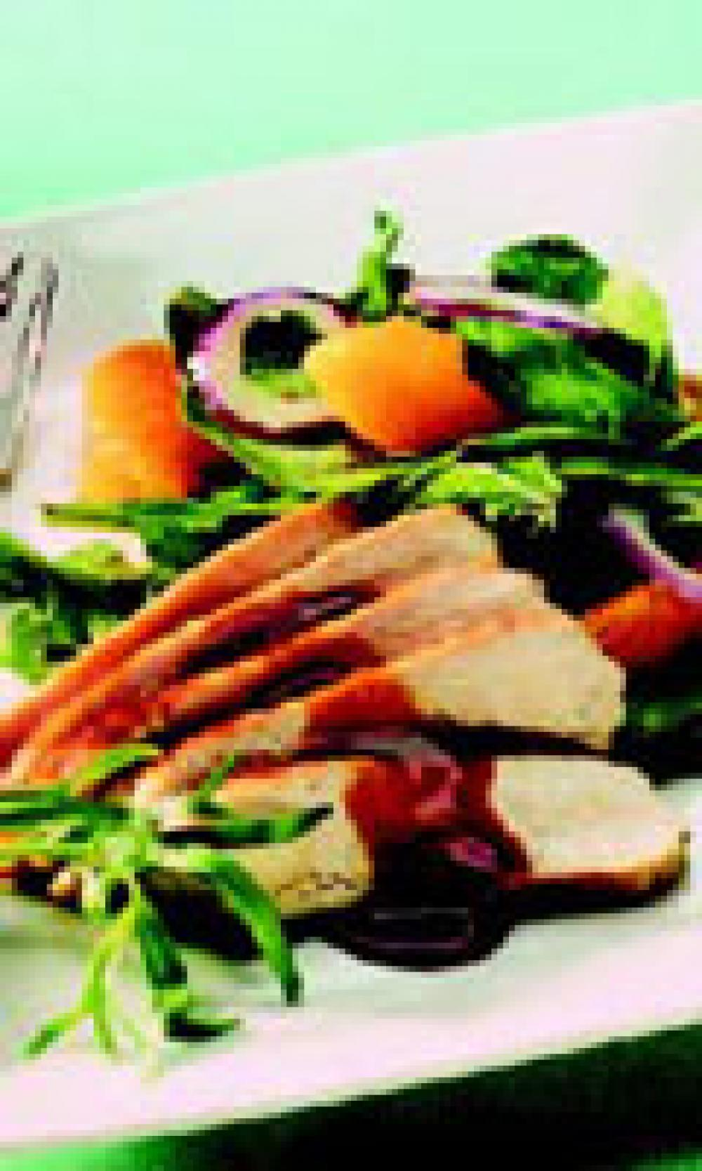 Warm Chicken Salad with Tangerine, Tarragon and Arugula