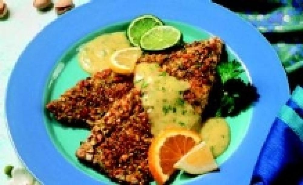 Pistachio-Crusted Rainbow Trout with Cilantro Citrus Hollandaise