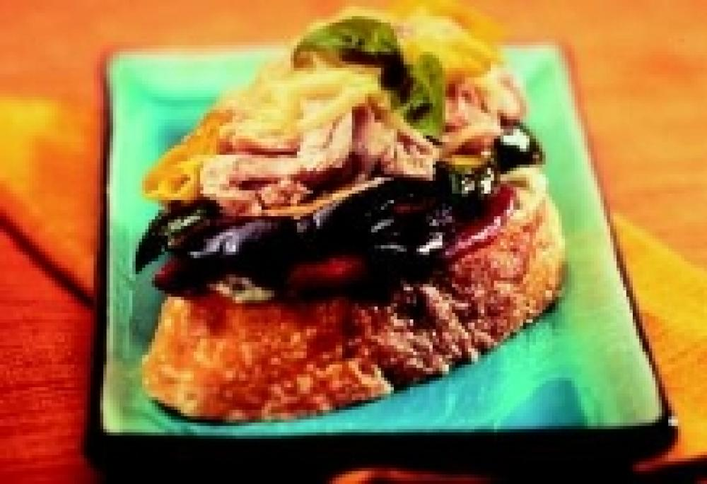 Grilled Open-Faced Mediterranean Sandwich