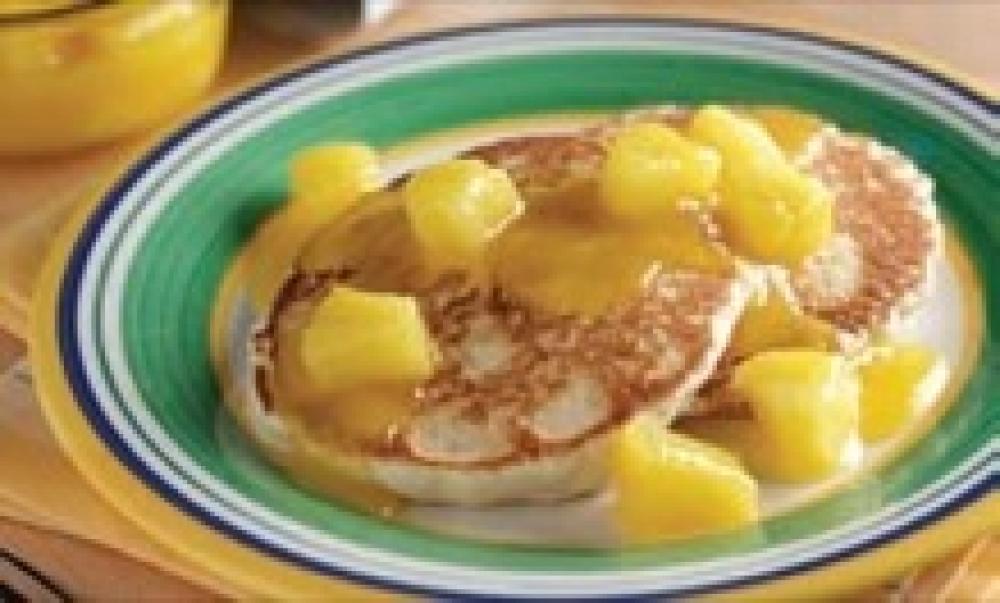 Mango Pineapple-Sauced Pancakes