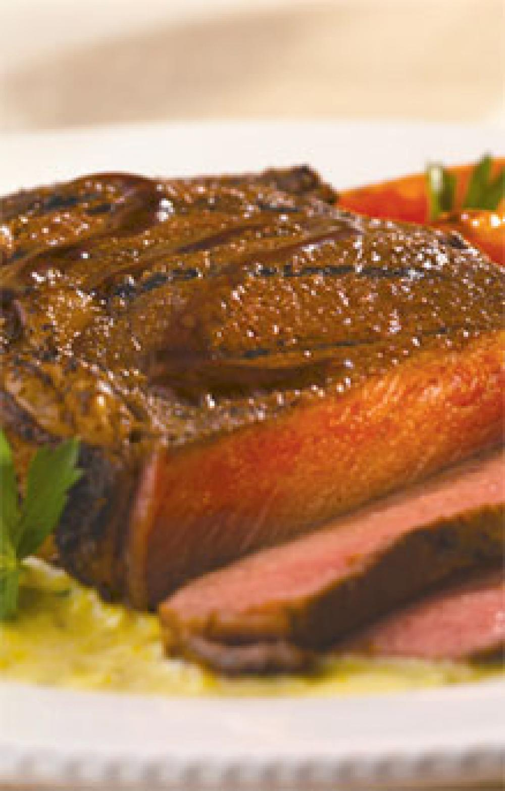 Cumin-Rubbed Steaks with Corn Coulis