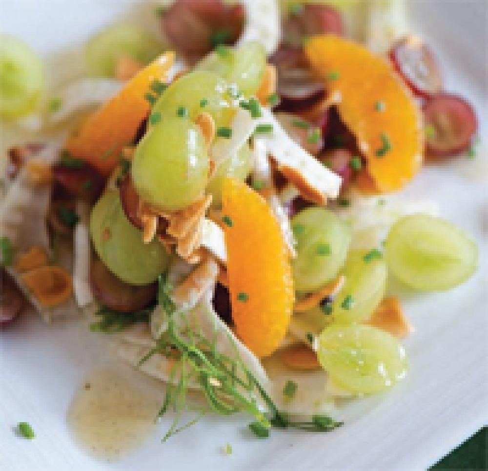 Grape, Toasted Almond and Shaved Fennel Salad with Vanilla-Grape Vinaigrette