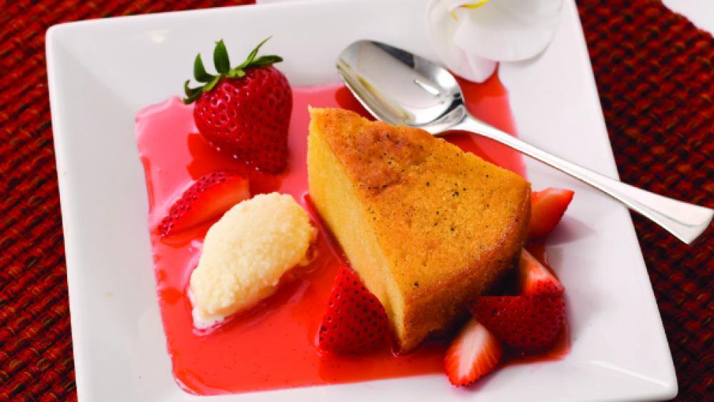 Mascarpone Cake with Vanilla Bean and Orange Mascarpone Gelato