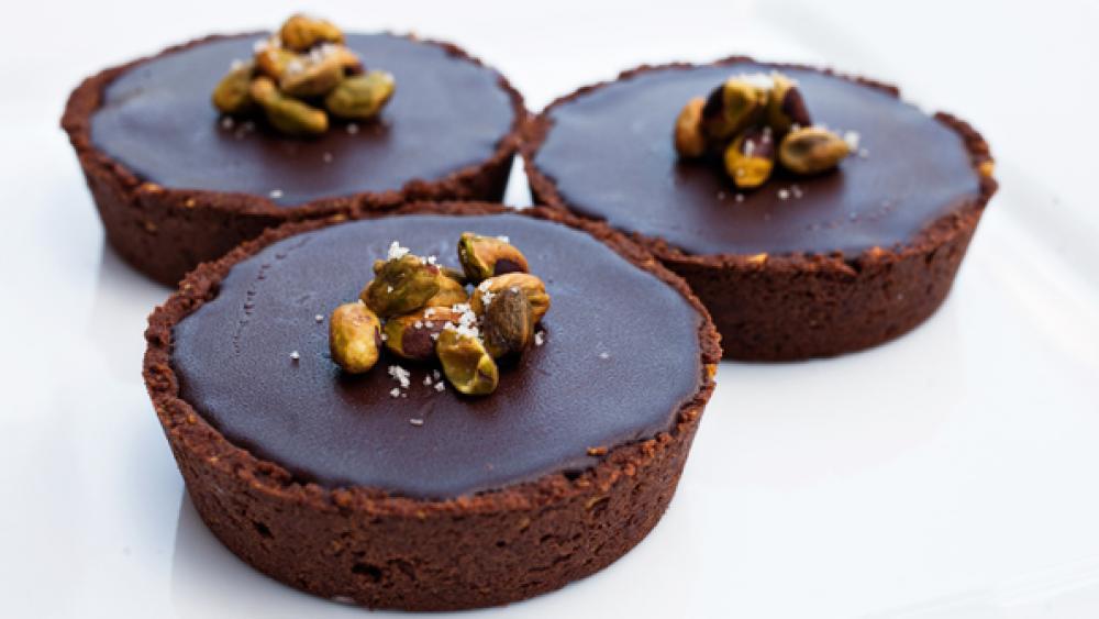 Pistachio Chocolate Tart with Caramel Mascarpone & Ganache