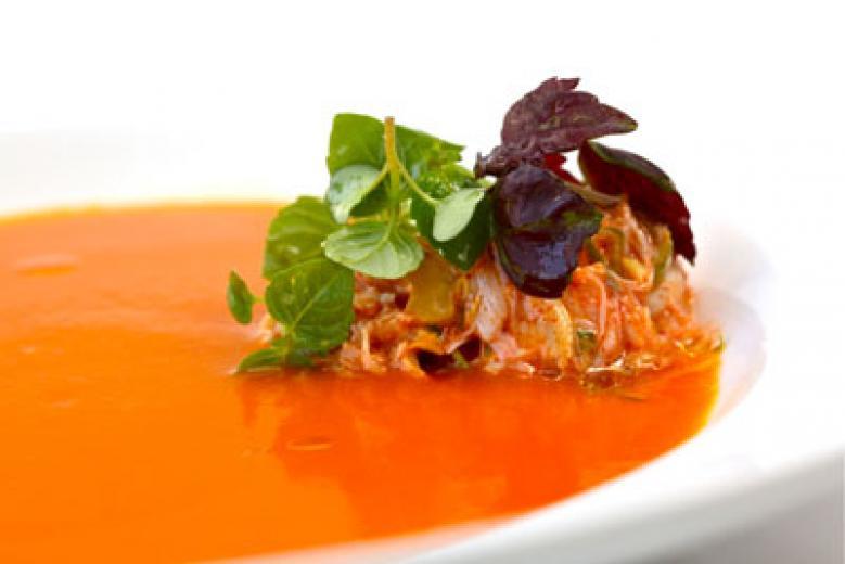 Tomato-almond gazpacho with crab remoulade and tomato sorbet