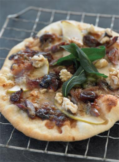 Pizza with Grape Jam, Gorgonzola, Toasted Walnuts, Duck Confit and Crispy Sage