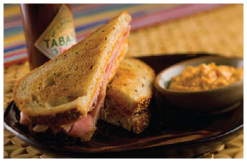 Grilled Ham and Cheddar with Smoky Sweet Potato Mayonnaise
