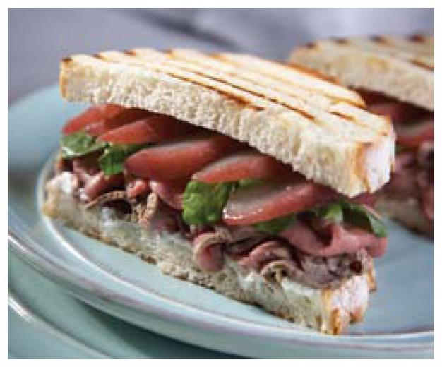 Roasted American Lamb Sandwich with Poached Pears and Goat Cheese