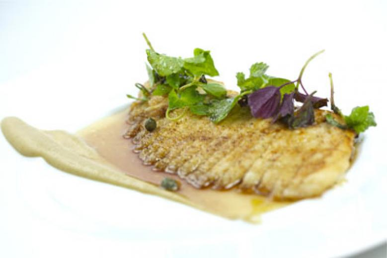 Skate with brown butter miso and sunchoke