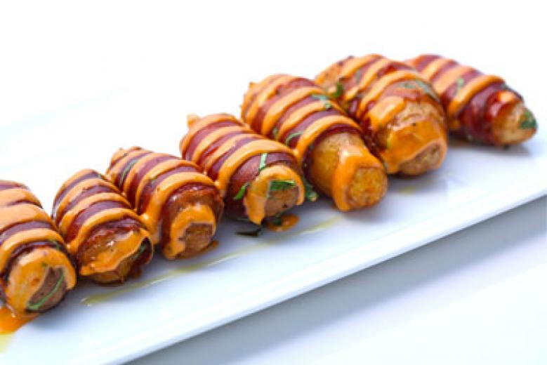 Wrapped fingerling potatoes with smoked paprika aioli