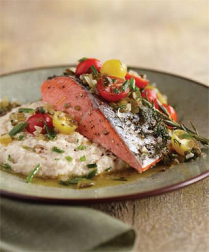 Wild Alaska Salmon with White Corn Grits and Sungold Tomato Salsa