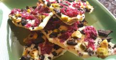 OREO Bark with Candied Beets and Pistachios